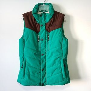 The north face cryptic vest green and brown